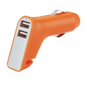 Dual port car charger with belt cutter and hammer