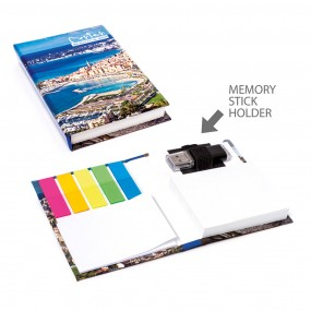 Adhesive note pads in hardcover 80x110 mm with USB drive