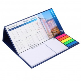 Adhesive note pads in hardcover with calendar 185x80 mm