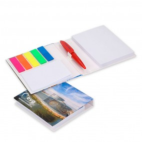 Adhesive note pads with pen (pencil) 100x110 mm in hard cover